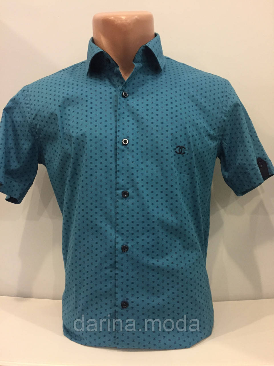 Мужская рубашка с коротким рукавом на пуговицах S,L