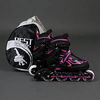 """Ролики 6006 """"L"""" Pink - Best Rollers /размер 39-42/ (6) колёса PU, без света, d=7.6см"""