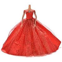 Пышное красное платье для куклы Барби