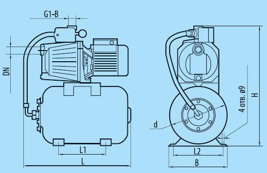 Бытовая насосная станция «Насосы + Оборудование» AUJET 40/24L размеры