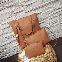 """Набор 3в1 """"JingPin"""", сумка-мешок, клатч и косметичка, фото 3"""