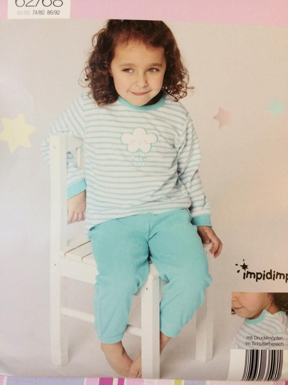 Пижама махровая для девочки Impidimpi, 2-6 мес