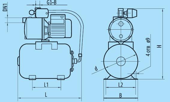 Бытовая насосная станция «Насосы + Оборудование» AUJS 110/24Lss размеры