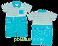 Детский песочник-футболка р. 74 ткань КУЛИР 100% тонкий хлопок ТМ АексТекс 3076 Бирюзовый 2