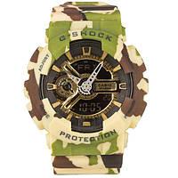 Распродажа! Камуфляжные спортивные часы Casio G-shock GA-110 Camouflage Green-Gold
