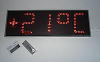 Часы термометр светодиодные красные с отображением даты и месяца. Яркость 800мКд