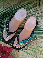 Вьетнамки Фея с цветами 3355-123 черный 39р