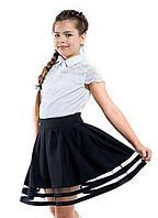 Школьная пышная юбка с прозрачными полосками.Черный 122,128р, фото 1