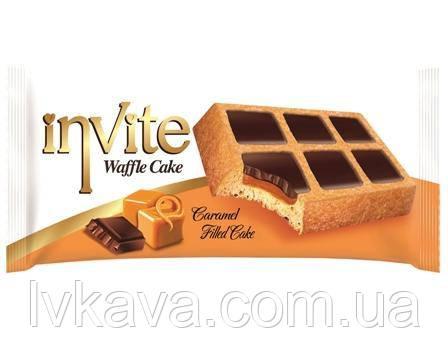 Пирожное-вафли  INVITE c карамельным соусом , 38 гр