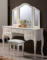 Будуарный столик с зеркалом и пуфом Богемия, цвет античный белый