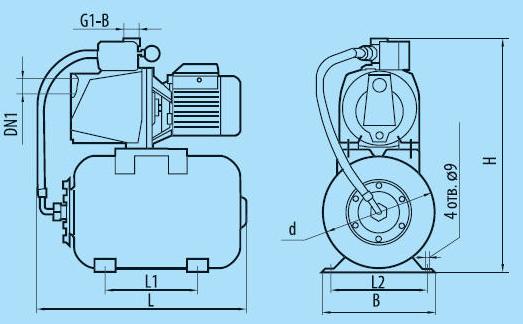 Бытовая насосная станция «Насосы + Оборудование» AUJSWm1B/19L размеры