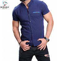 Синяя рубашка со стойкой воротником, фото 1