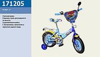 """Детский двухколесный велосипед 12"""" Синий (171208) с приставными колесиками"""