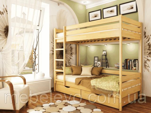 Кровать Дуэт двухъярусная деревянная, ТМ Эстелла