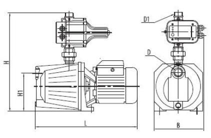 Бытовая насосная станция «Насосы + Оборудование» AUJET40/E1(A) размеры