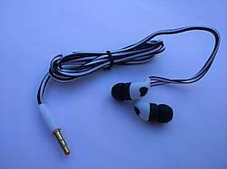 Наушники вкладыши с плоским кабелем (черно-белые)