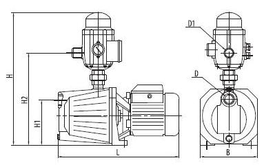 Бытовая насосная станция «Насосы + Оборудование» AUJET110B/E2 размеры