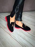 Женские туфли кожа/замша черные Ko0035