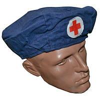 Берет медика синий (красный крест)