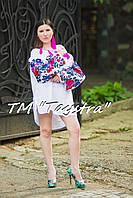 Туника вышитая белая платье лен, вышиванка бохо стиль , Bohemian, этно, туника в Бохо-стиле