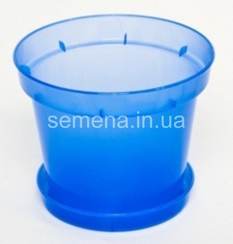 Горшок с поддоном синий 1 шт