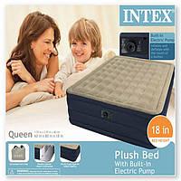 Надувная матраc - кровать Intex, 67710 полуторная с насосом (203*152*46 см)