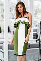 Эксклюзивное трехцветное платье
