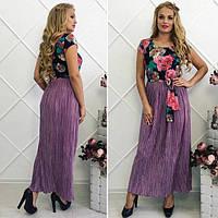 Длинное женское платье креп+ шифон+ гафре размер 48-54