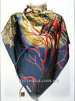 Большие атласные платки Венеция, темно синий