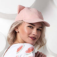 Нежно-розовая кепка с ушками
