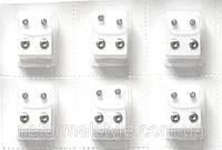 Серьги для первичного прокола ушей (набор 6 пар) прозрачный  кристалл.