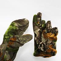 Перчатки флисовые с откидной варежкой охотничий камуфляж