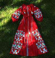 Платье роскошное с клиньями вышивка дерево птицы