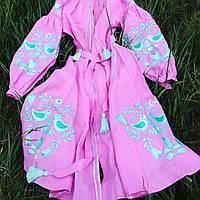 Вышитое платье с клиньями лаванда и мята дерево птицы