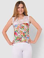 Летняя женская трикотажная майка с цветочным принтом 90163