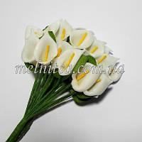 Букетик калл из фоамирана, цветок 1,8х2,8 см, цвет белый