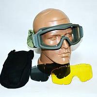 Тактические очки-маска Foliage Green 3 линзы