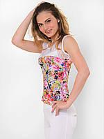 Летняя женская трикотажная майка с цветочным принтом 90163/1