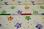 """Ткань хлопковая """"Совушки и цветной горошек"""", фон - кремовый, плотность 125 г/м2, (№ 768а)., фото 5"""