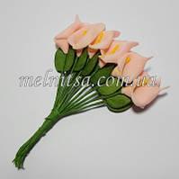 Букетик калл из фоамирана, цветок 1,8х2,8 см, цвет персиковый