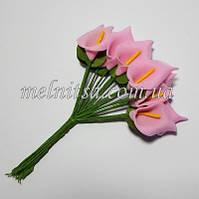 Букетик калл из фоамирана, цветок 1,8х2,8 см, цвет розовый