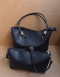Модная женская черная сумка лодочка 2 в 1