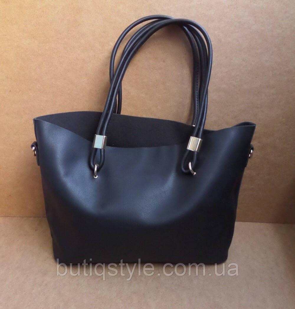Модная женская вместительная черная сумка в сумке