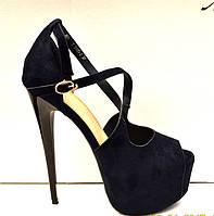 Босоножки женские на высоком тонком каблуке черные, темно-синие KF0450