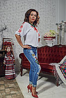 """Шифонова блузка з вишивкою """"Троянди"""""""