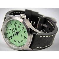 Часы мужские Flieger хром серый с кожаным ремешком