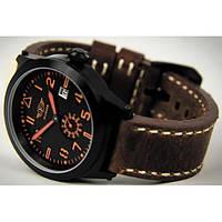 Часы мужские наручные Flieger черные с кожаным ремешком