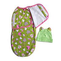 Пеленка-кокон и шапочка для малышей