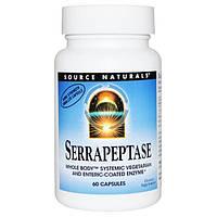 Серрапептаза 60 капс 60 000 ед. энзимы (ферменты) лечение воспалительных процессов  Source Naturals USA