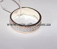 Обручальное кольцо из серебра и золота Колосок